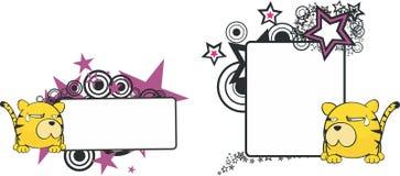 Kopia space8 för stil för tigertecknad filmboll stock illustrationer