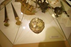 Kopia złota Agamamnon ` s maska w muzeum Mycenae, Grecja fotografia royalty free