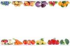 Kopian för frukt- och grönsakcopyspacegränsen gör mellanslag äppleapelsin b royaltyfri fotografi