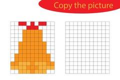 Kopieer het beeld, pixelkunst, het beeldverhaal van de Kerstmisklok, die vaardigheden trekken opleidend, onderwijsdocument spel v stock illustratie