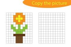 Kopieer het beeld, pixelkunst, bloem die in pottenbeeldverhaal, vaardigheden trekken opleidend, onderwijsdocument spel voor de on vector illustratie