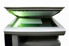 Kopieerapparaat met licht en document Stock Foto
