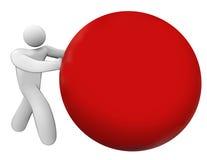 Kopien-Raum des Mann-Person Pushing Rolling Red Ball-Bereich-freien Raumes Stockfoto