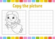Kopiera bilden Sidor för färgläggningbok för ungar Framkallande arbetssedel för utbildning Lek för barn handskriftövning gulligt stock illustrationer