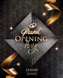 Kopieren elegante Einladungskarten der festlichen Eröffnung mit Goldband und -kreis Hintergrund lizenzfreie abbildung