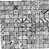Kopieren Sie abstrakte quadratische Muster Seite für die Färbung, Skizzenillustration Stockfoto