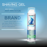 Kopieren Sie die kosmetische Verpackung, die Gellogo auf einem blauen Hintergrund rasiert Stockfoto