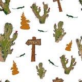 Kopieren Sie Gegenstände der Wüstenkakteen und -eidechsen Stockfoto
