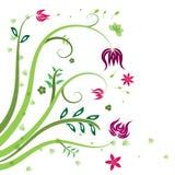 Kopieren Sie grünen roten und purpurroten Blumen- und Blattvektorhintergrund vektor abbildung