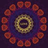 Kopieren Sie Mandala von Herzen, von Entspannung und von Meditation, Postkarte t Lizenzfreie Stockbilder
