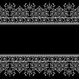 Kopieren Sie nahtloses Grenzelement in indischer Hennastrauch mehndi Art für die Tätowierung oder Karte, die auf schwarzem Hinter Lizenzfreies Stockbild