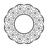 Kopieren Sie Platz für Ihre Abbildung oder Text, Antike weißer ovaler Doily, gesteppter Hintergrund Lizenzfreies Stockbild