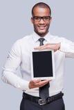 Kopieren Sie Raum auf seiner digitalen Tablette Stockfotos