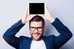Kopieren Sie Raum auf seiner Tablette Lizenzfreies Stockfoto