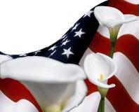 Kopieren Sie Raum mit USA-Flagge und -Calla lilyum Blumen, für grafisches Konzept Stockfotos