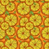 Kopieren Sie Scheiben der Orange auf einem orange Hintergrund stock abbildung