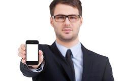Kopieringsutrymme på hans mobiltelefon. Royaltyfria Bilder