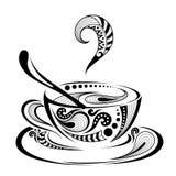 Kopierte farbige Kappe des Kaffees Batik/Afrikaner/Inder Stockbild
