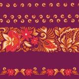 Kopierte nahtlose Grenzen Russische Malerei Lizenzfreie Stockbilder