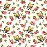 Kopierte weiße Blumenbeschaffenheit mit gezogenen Vögeln in den Rosen Vektor Abbildung