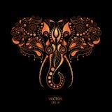 Kopierter farbiger Kopf des Elefanten Afrikanisches/Inder-/Totem-/Tätowierungsdesign Es wird für Design eines T-Shirts, Tasche, P Lizenzfreie Stockbilder