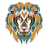Kopierter farbiger Kopf des Löwes Stockfoto