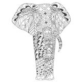 Kopiertes Elefant zentangle spornte Art an Lizenzfreie Stockfotografie