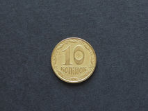 Kopiyky coin from Ukraine. 10 kopiyky coin money UAH, currency of Ukraine Stock Photos