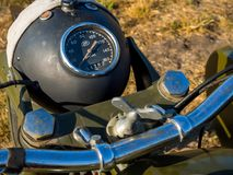 Koplamp met motorfietscontroles BMW R75 stock afbeeldingen