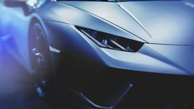 Koplamp van een moderne sportwagen Moderne Auto buitendetails royalty-vrije stock foto's