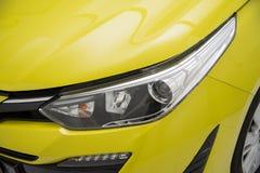 Koplamp van gele AUTO Dichte omhooggaand stock foto