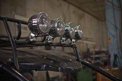 Koplampen van dichte omhooggaand van ATV quadbike Stock Foto's