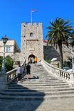 Kopnena Vrata Land Gate in Korcula old town, Croatia. Korcula is a historic fortified town on the protected east coast of the island of Korcula Stock Image