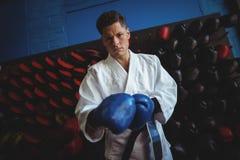 Kopnięcie bokser jest ubranym rękawiczki obraz royalty free
