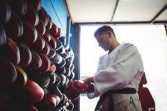 Kopnięcie bokser jest ubranym rękawiczki fotografia stock