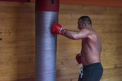 Kopnięcie boksera szkolenie na uderza pięścią torbie Fotografia Stock