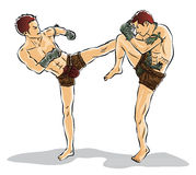 Kopnięcie boks, Tajlandzka tradycyjna, Tajlandzka walka, Obrazy Stock