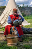 Koporje, Leningrad region, Russia - July 21, 2012: Reconstruction of knightly duels and battle chivalrous life camp stock images