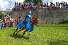 Koporje, Leningrad region, Russia - July 21, 2012: Reconstruction of knightly duels and battle chivalrous life camp stock photo