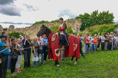 Koporje, Leningrad region, Russia - July 21, 2012: Reconstruction of knightly duels and battle chivalrous life camp royalty free stock photos