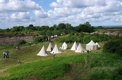 Koporje, Leningrad, Russia 2012 July 21. Reconstruction of knightly duels and battle chivalrous life camp, tents Stock Image
