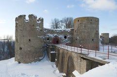 Koporye fortress in the winter twilight. Leningrad region Royalty Free Stock Photography