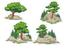 Kopowie ziemia lub skały, z trawą i drzewami royalty ilustracja