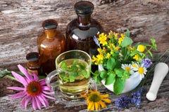 Kopp av örtte med medicinska flaskor och läkaörter i mo Royaltyfri Foto