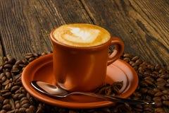 Kopp av cappuccino, stjärnaanis och kaffebönor Arkivfoton