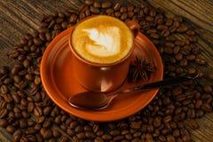Kopp av cappuccino, stjärnaanis och kaffebönor Royaltyfri Fotografi