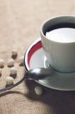 Kopp av den varma drinken med kaffebönor Royaltyfri Fotografi