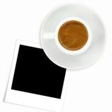 Kopp av espressokaffe- och fotoramen Arkivbild