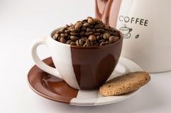 Kopp av grillade bruna kaffebönor Arkivfoto