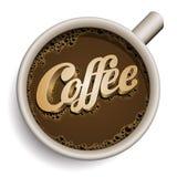 Kopp av kaffe med kaffetext. Royaltyfria Foton
